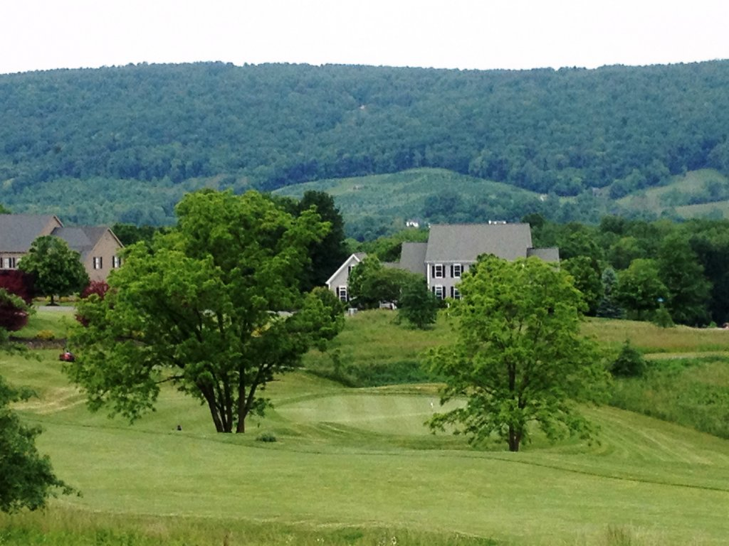 The 3rd Green at Stoneleigh backed by the Blue Ridge Mountains