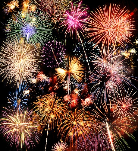 Colorful fireworks over a night sky - EXTRA LARGE